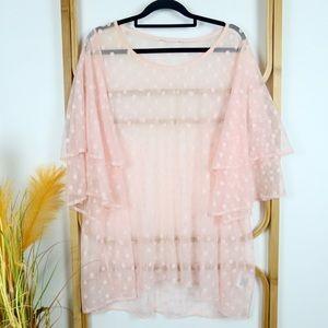 Pink sheer polka dot blouse size XL plus size